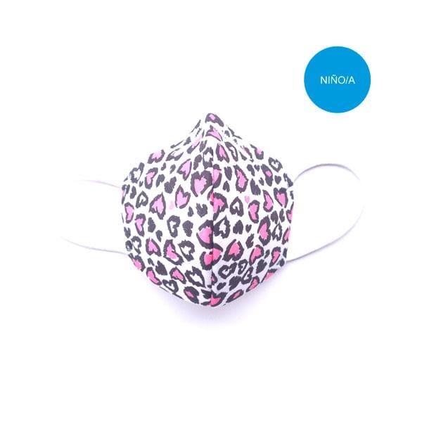 mascarilla corazones rosas leopardo nina
